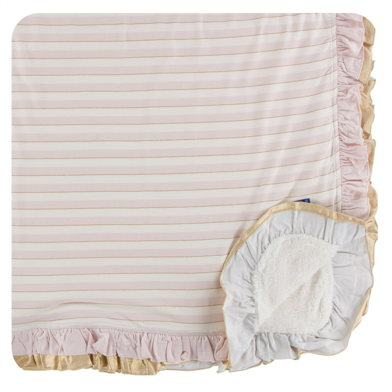 Print Sherpa-Lined Double Ruffle Toddler Blanket in Everyday Heroes Sweet Stripe