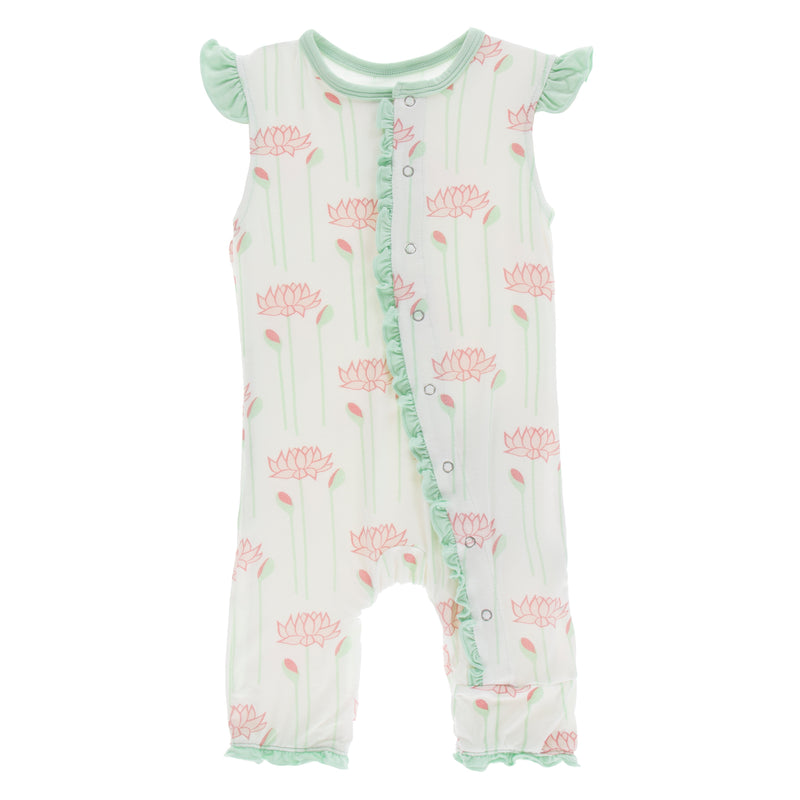 Print Ruffle Tank Romper in Natural Lotus Flower
