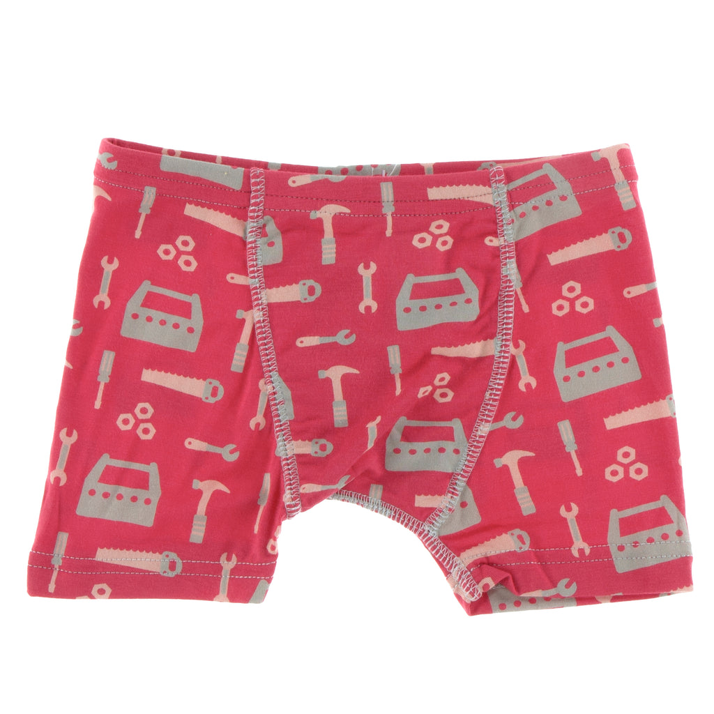 Print Single Boxer Brief in Flag Red Construction