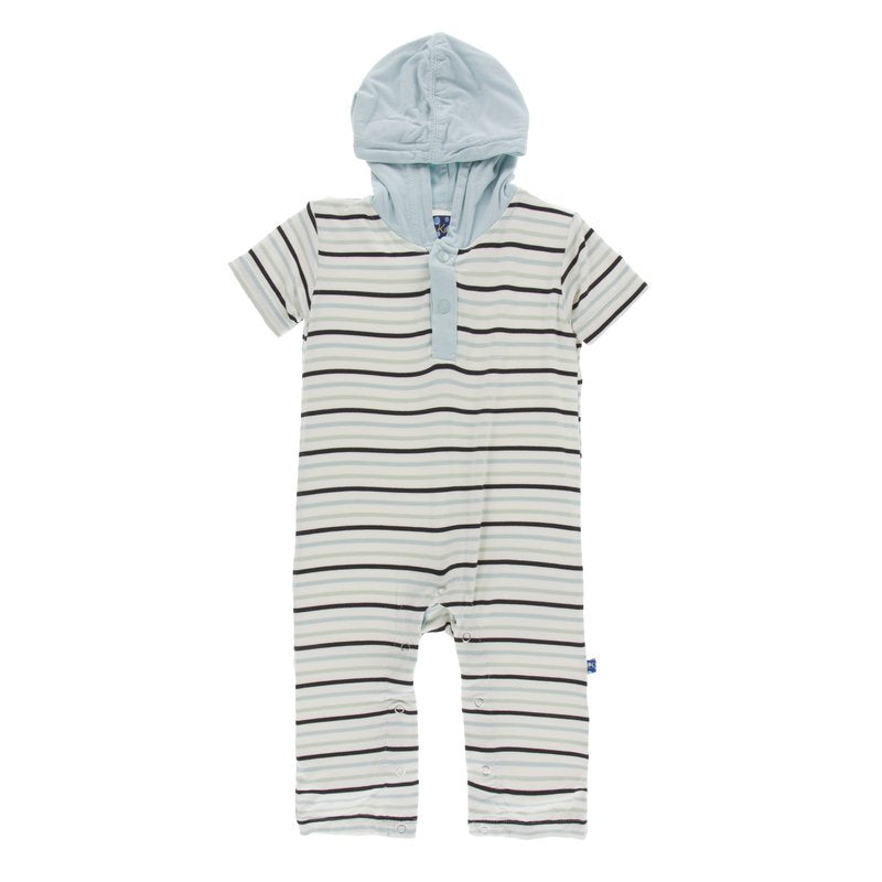 Print Short Sleeve Hoodie Romper in Tuscan Afternoon Stripe