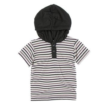 Print Short Sleeve Hoodie Tee in Tuscan Vineyard Stripe