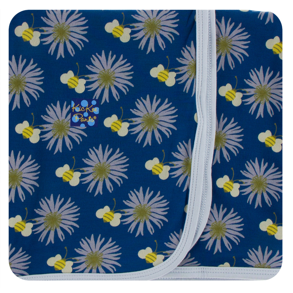 Print Swaddling Blanket in Navy Cornflower and Bee
