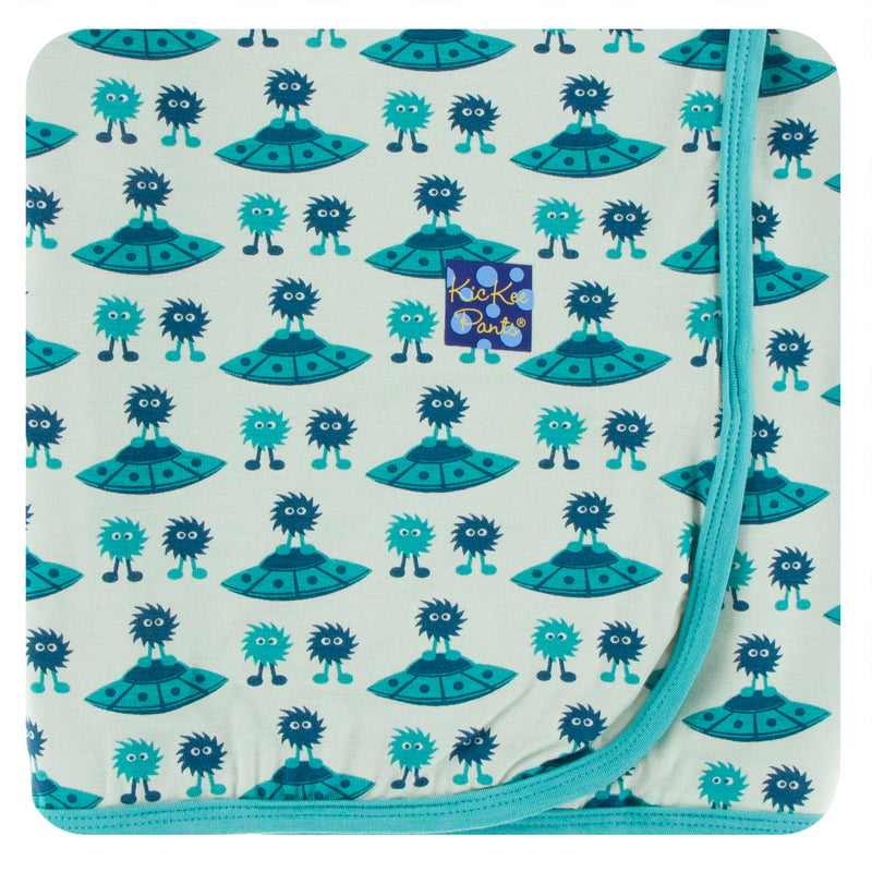 Print Swaddling Blanket in Aloe Aliens with Flying Saucers