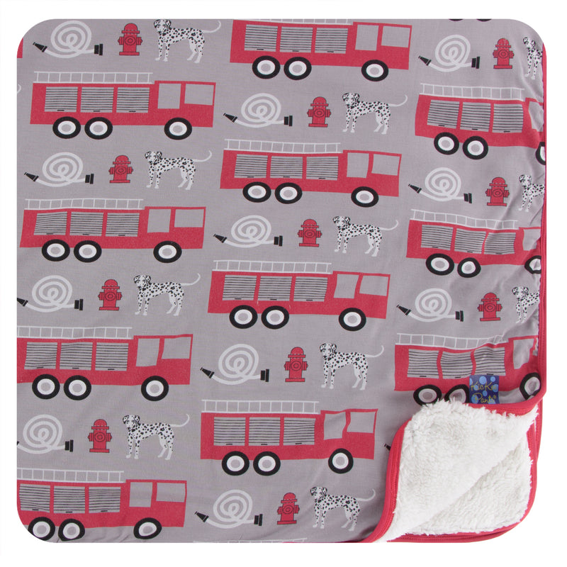 Print Sherpa-Lined Toddler Blanket in Feather Firefighter
