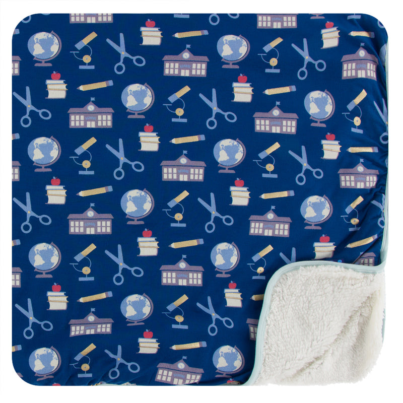Print Sherpa-Lined Toddler Blanket in Navy Education