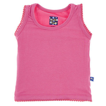 Solid Scalloped Edge Tank- Flamingo (9Y)