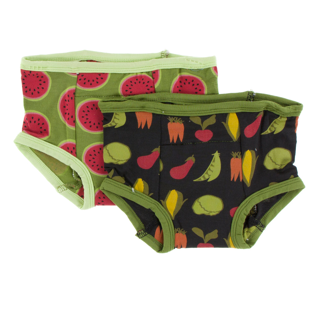 Training Pants Set in Grasshopper Watermelon and Zebra Garden Veggies