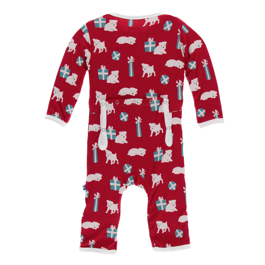 Print Coverall with Zipper in Crimson Puppies and Presents