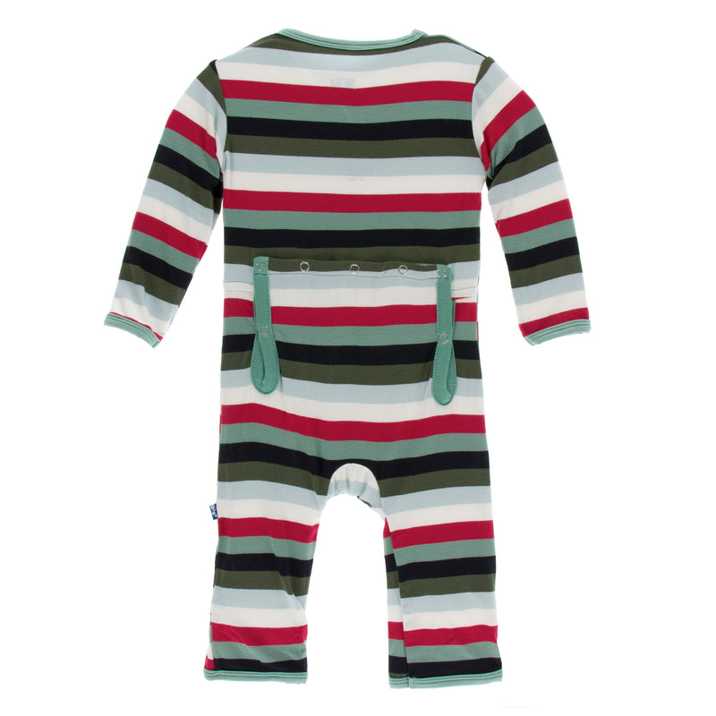 Print Coverall with Zipper in Christmas Multi Stripe