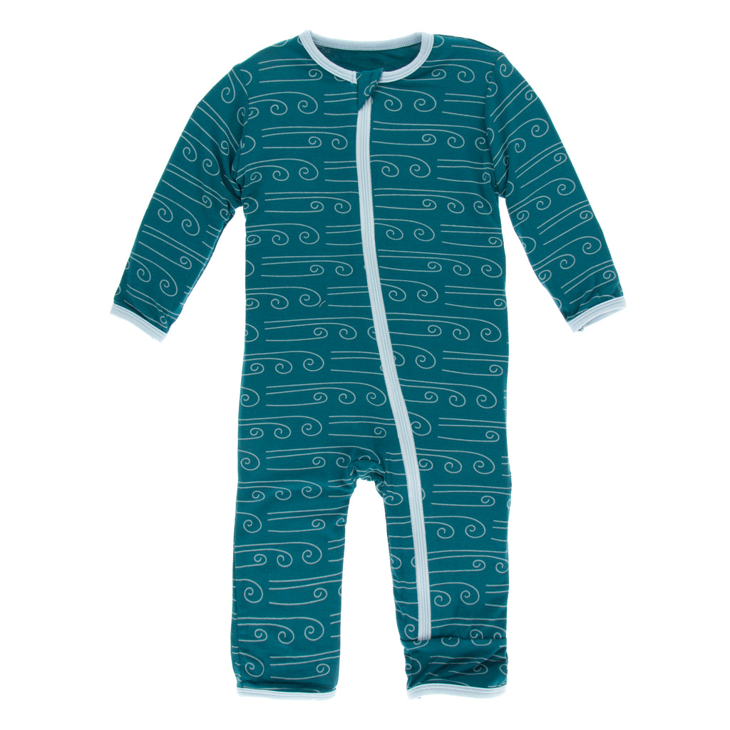 Print Coverall with Zipper in Heritage Blue Wind