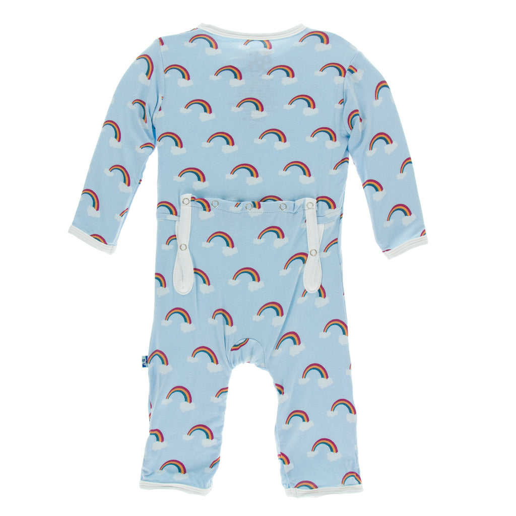 Print Coverall with Zipper in Pond Rainbow