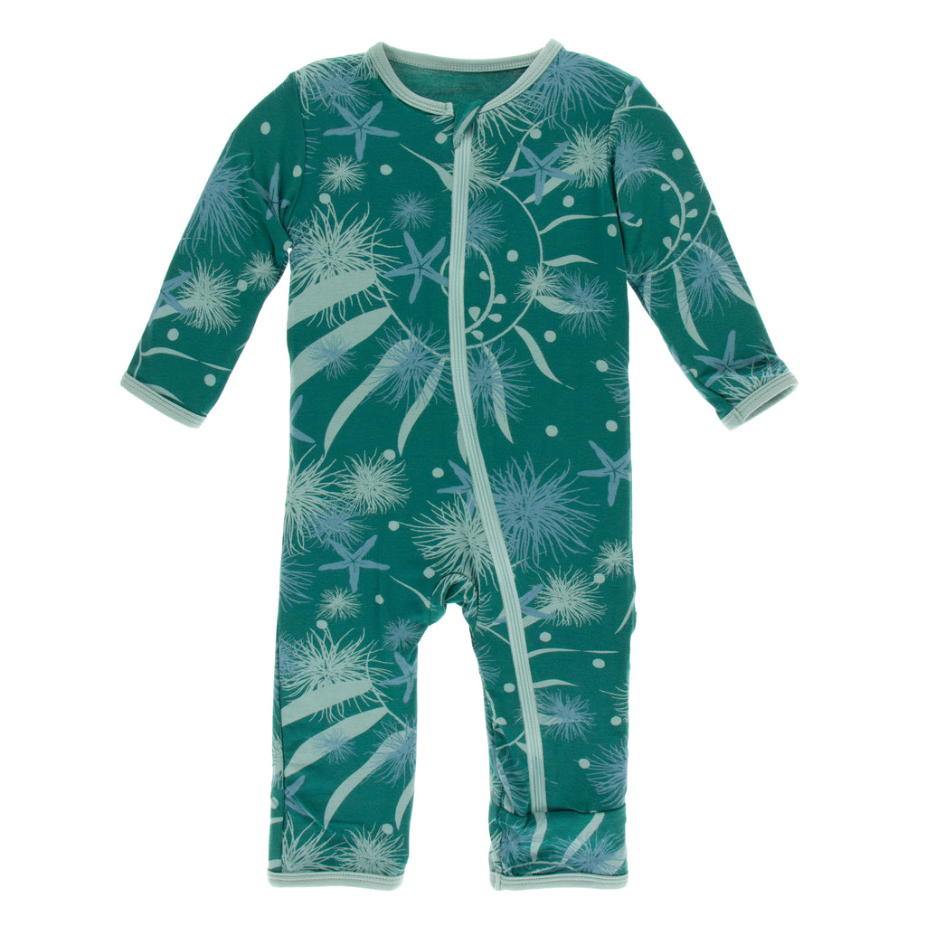 Print Coverall with Zipper in Ivy Sea Garden