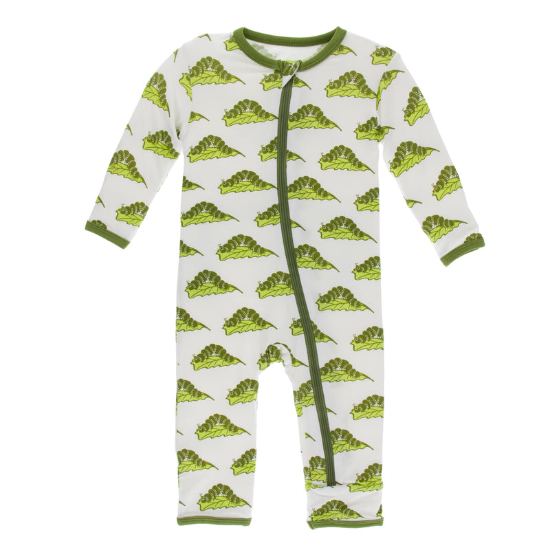 Print Coverall with Zipper in Natural Caterpillars