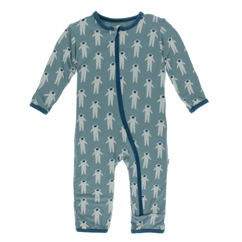 Print Coverall with Zipper in Dusty Sky Astronaut