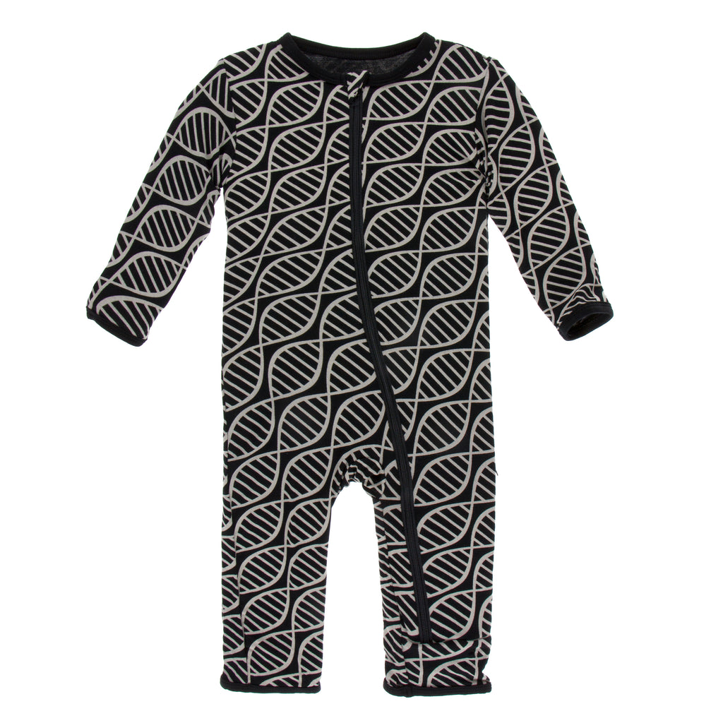 Print Coverall with Zipper- Midnight Double Helix