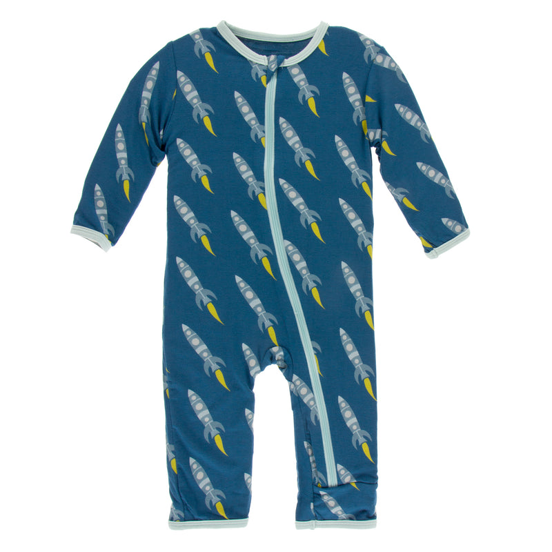 Print Coverall with Zipper- Twilight Rockets