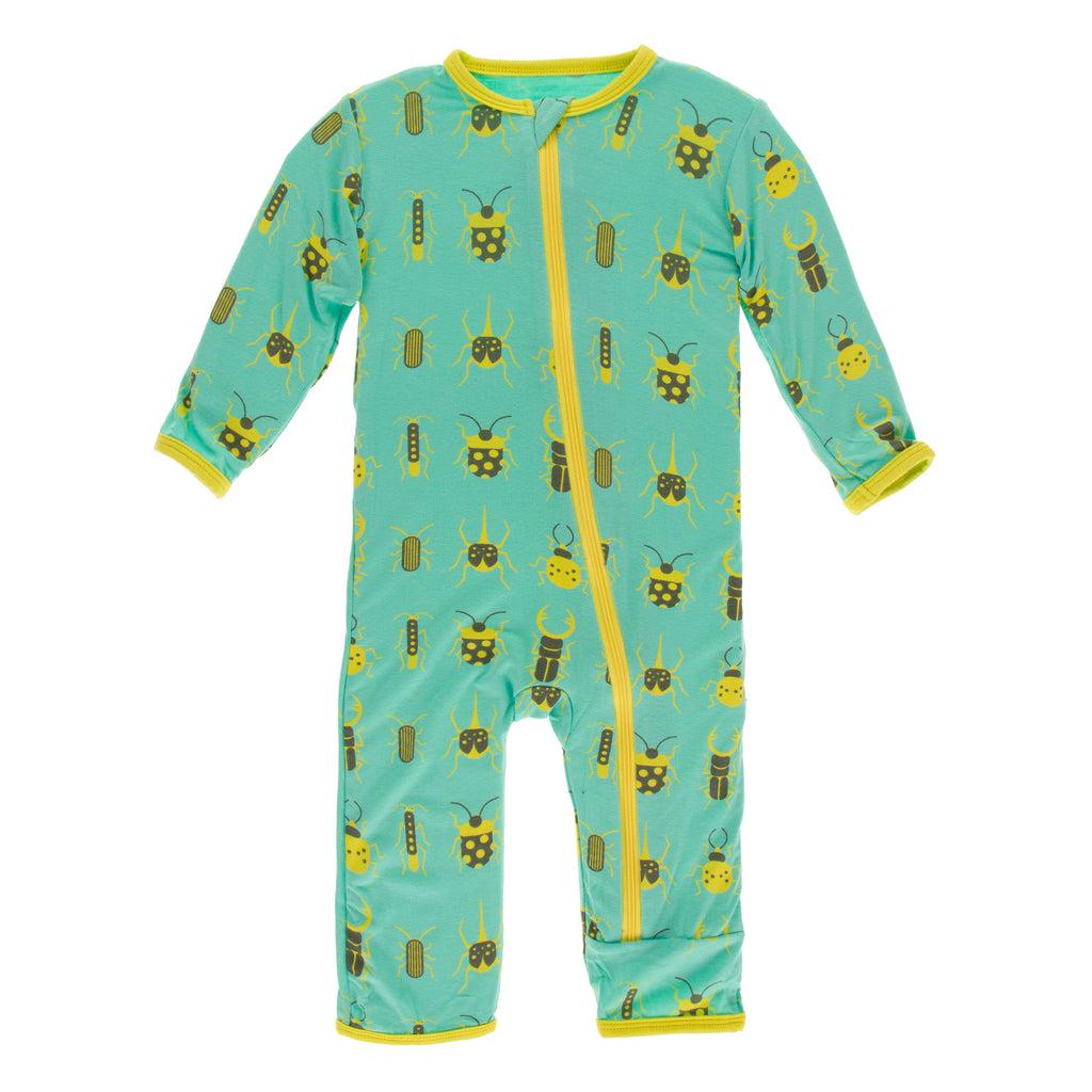 Print Coverall with Zipper in Glass Beetles