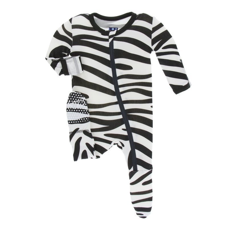 Print footie with zipper- Natural Zebra Print (3T)