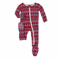 Kickee Pants Holiday Footie with Zipper - Nordic Print (9-12m)