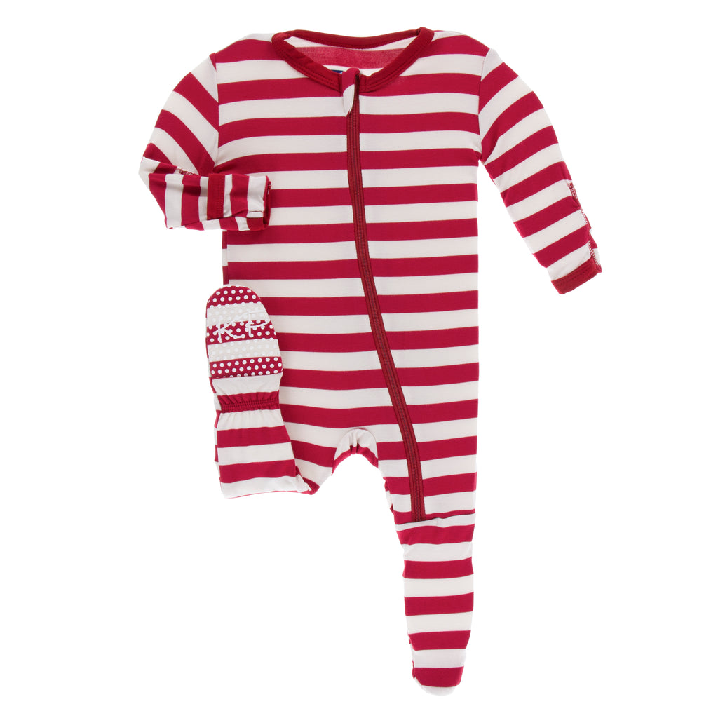 Print Footie with zipper in Candy Cane Stripe- 12-18M