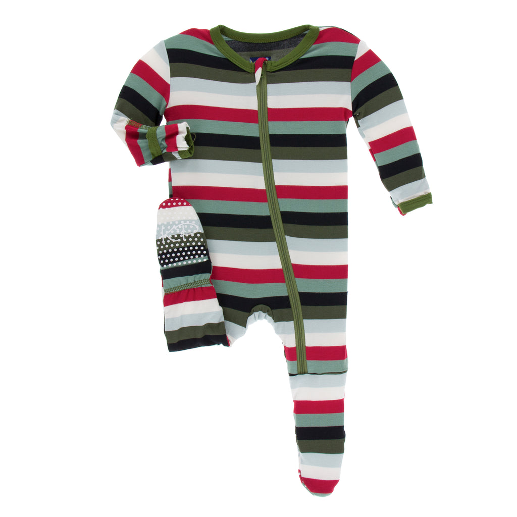 Print Footie with Zipper in Christmas Multi Stripe- 0-3M