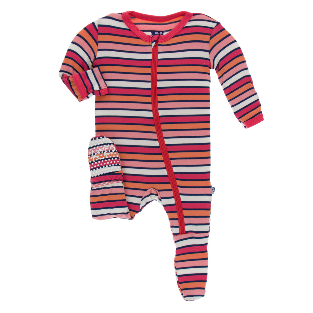 Print Footie with Zipper in Botany Red Ginger Stripe