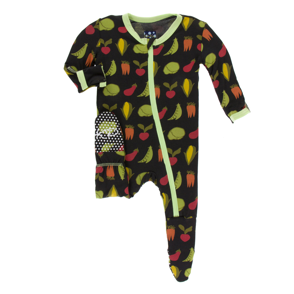 Print Footie with Zipper in Zebra Garden Veggies