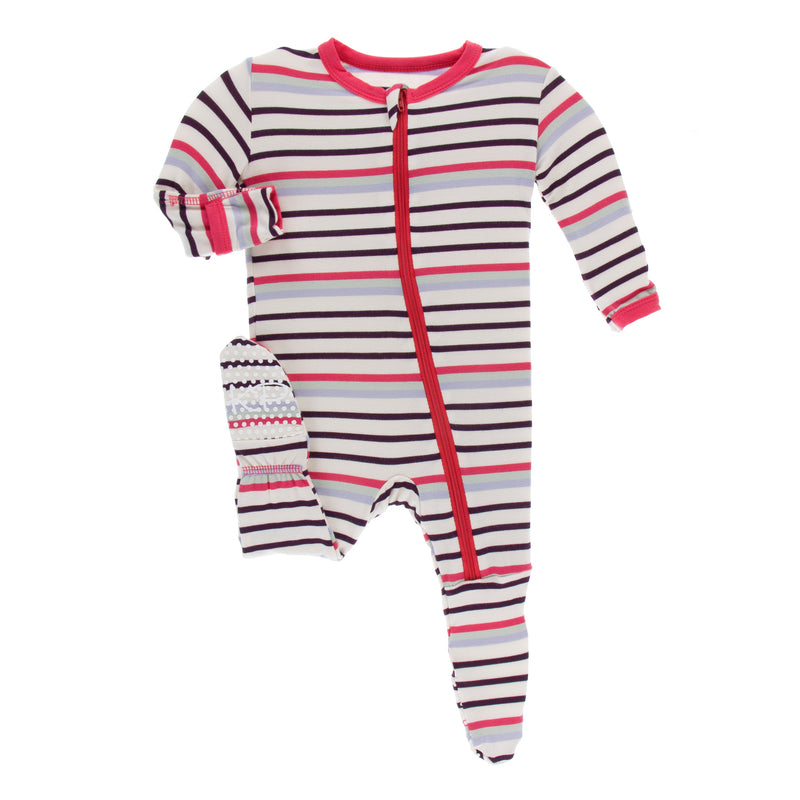 Print Footie with Zipper in Chemistry Stripe