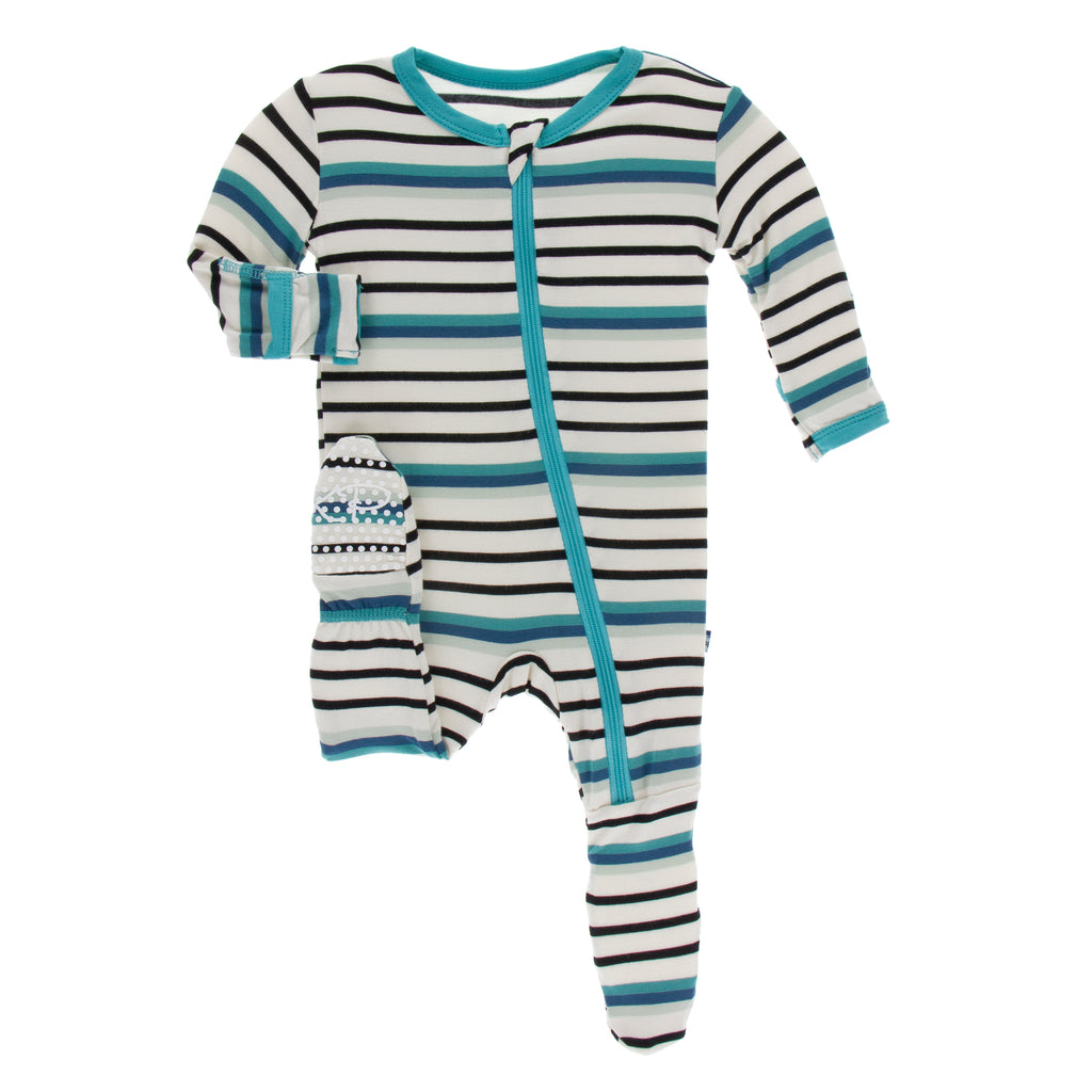 Print Footie with Zipper in Neptune Stripe