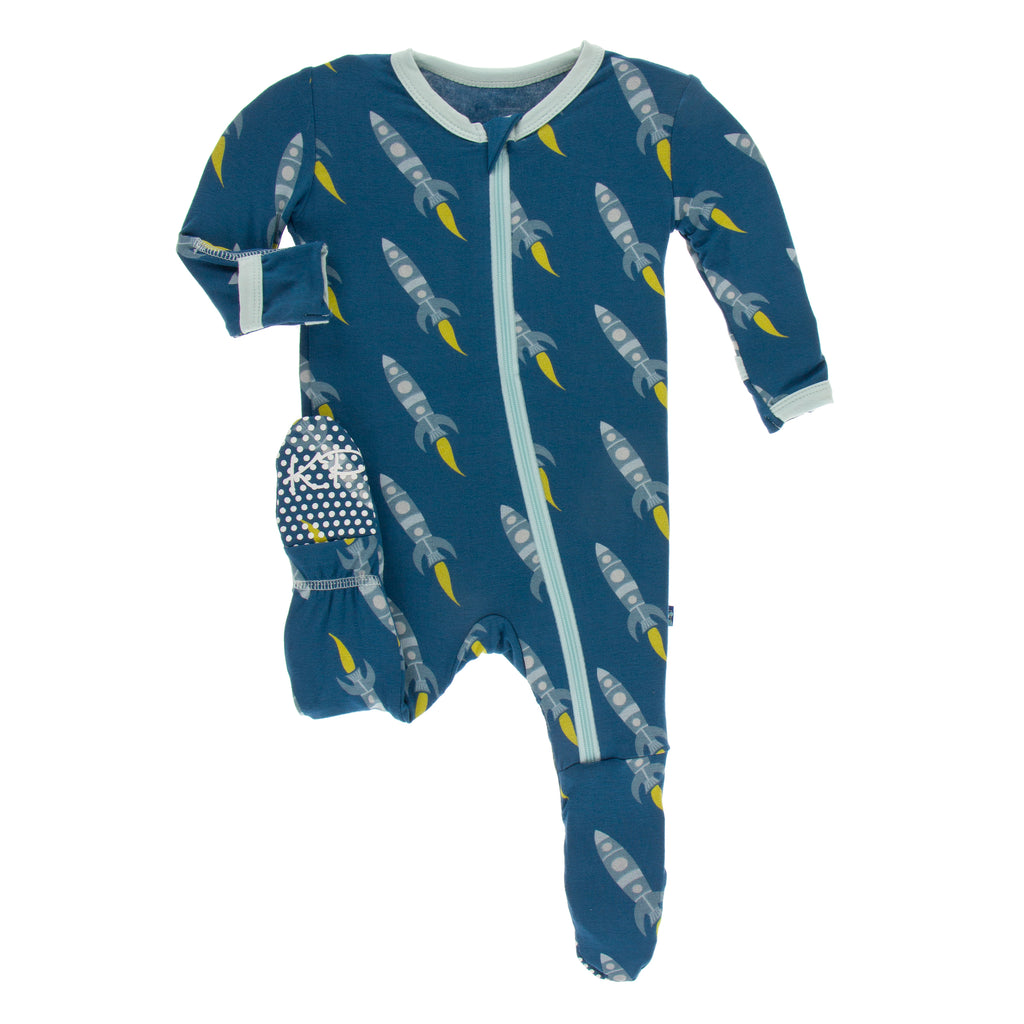 Print Footie with Zipper in Twilight Rockets