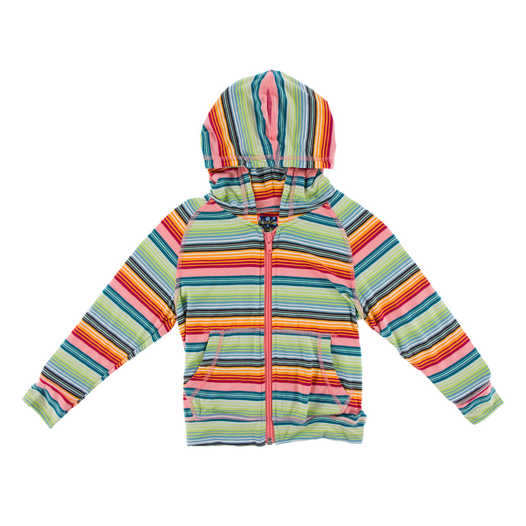 Lightweight Print Zip Front Hoodie in Cancun Strawberry Stripe