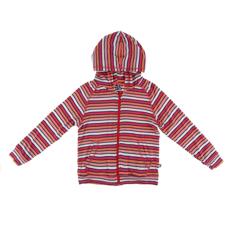 Print Lightweight Zip Front Hoodie in Botany Red Ginger Stripe (2T)