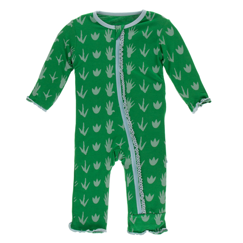 Print Muffin Ruffle Coverall with Zipper-Dino Tracks