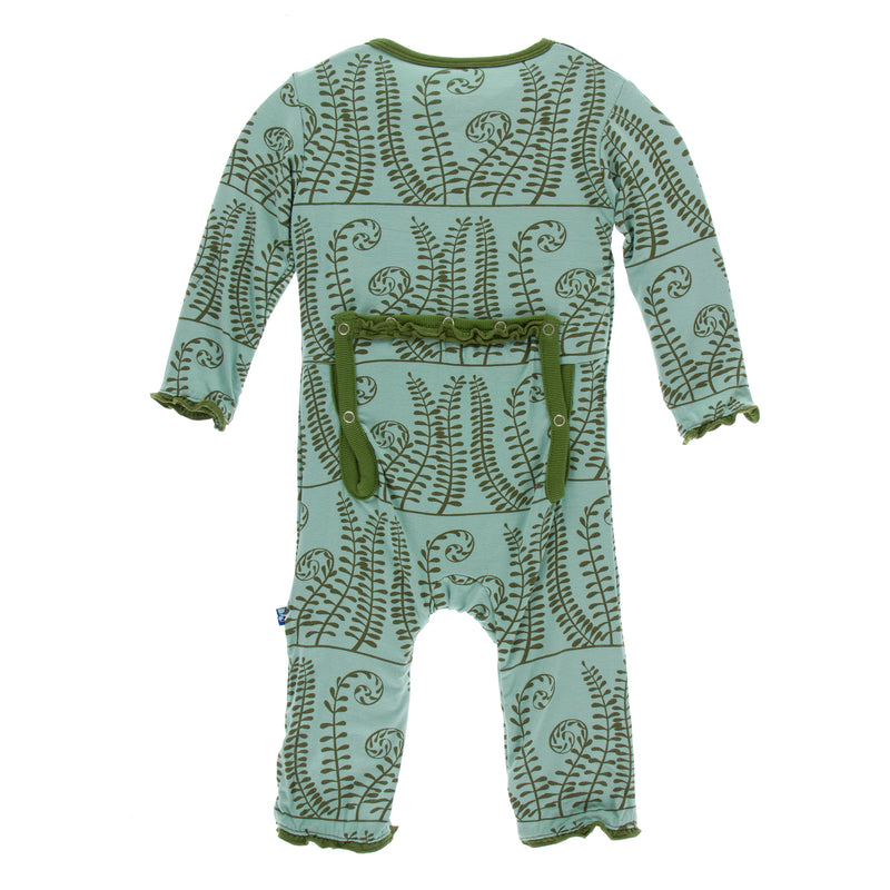 Print Classic Ruffle Coverall with Zipper-Shore Ferns