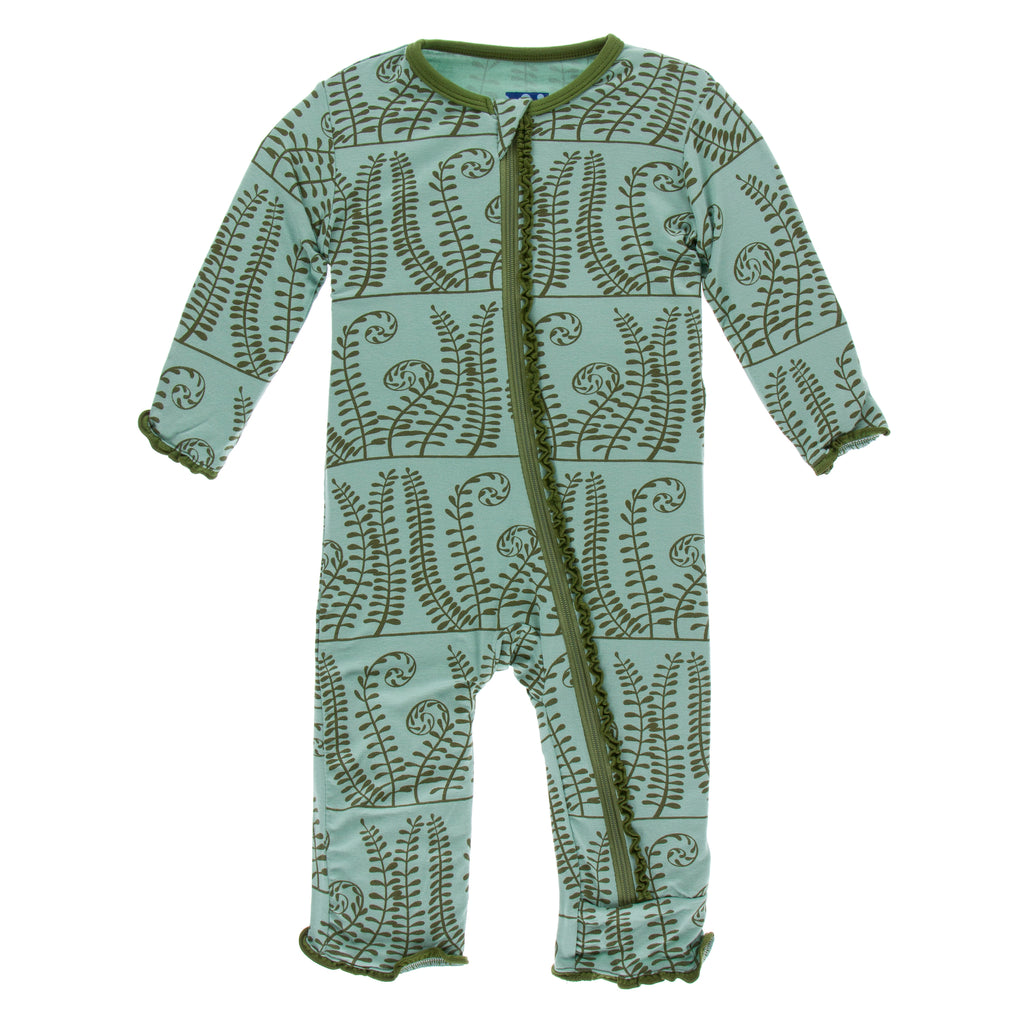 Print Muffin Ruffle Coverall with Zipper-Shore Ferns