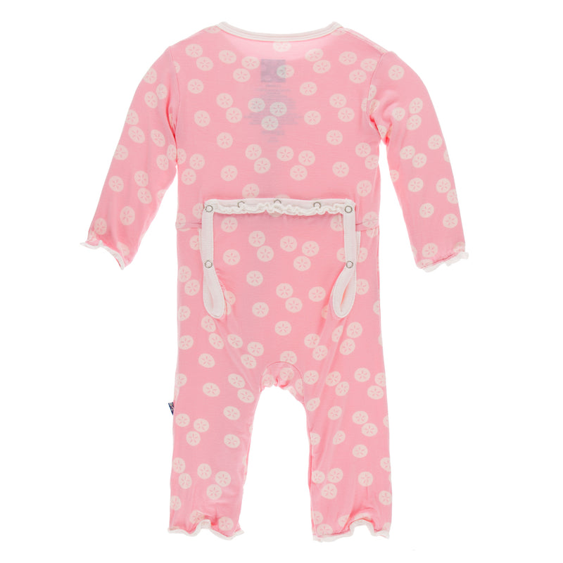 Print Classic Ruffle Coverall with Zipper (Lotus Sand Dollar - Newborn)