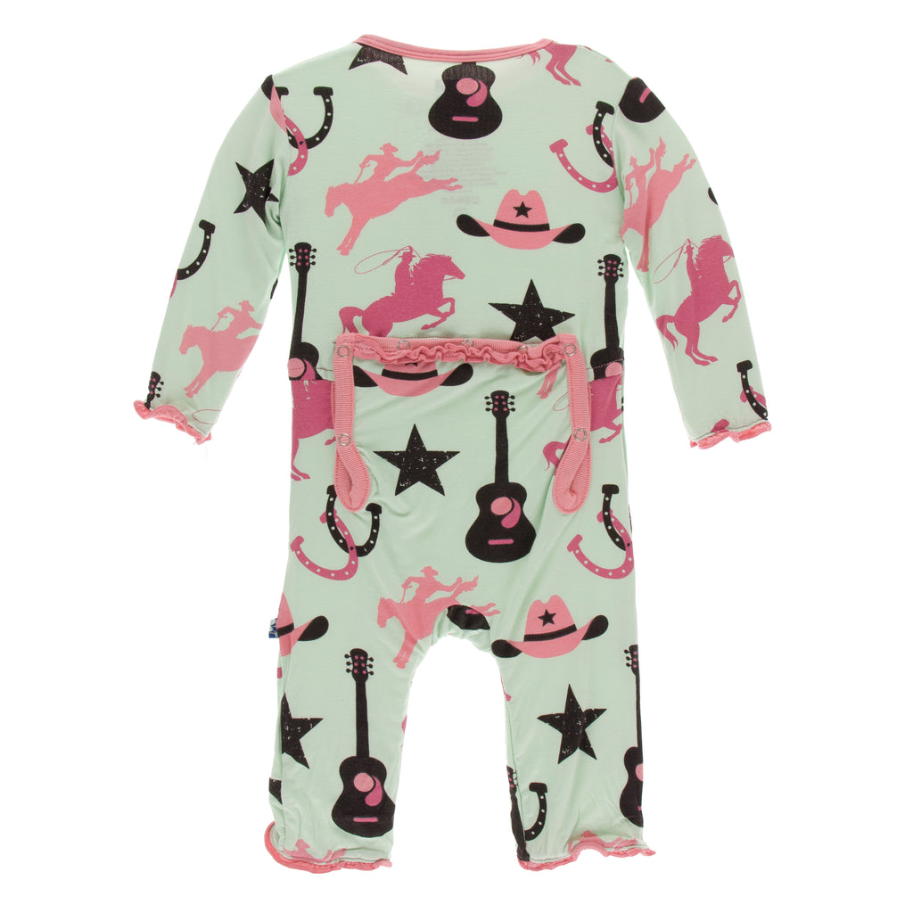 Print Muffin Ruffle Coverall with Zipper in Pistachio Cowboy