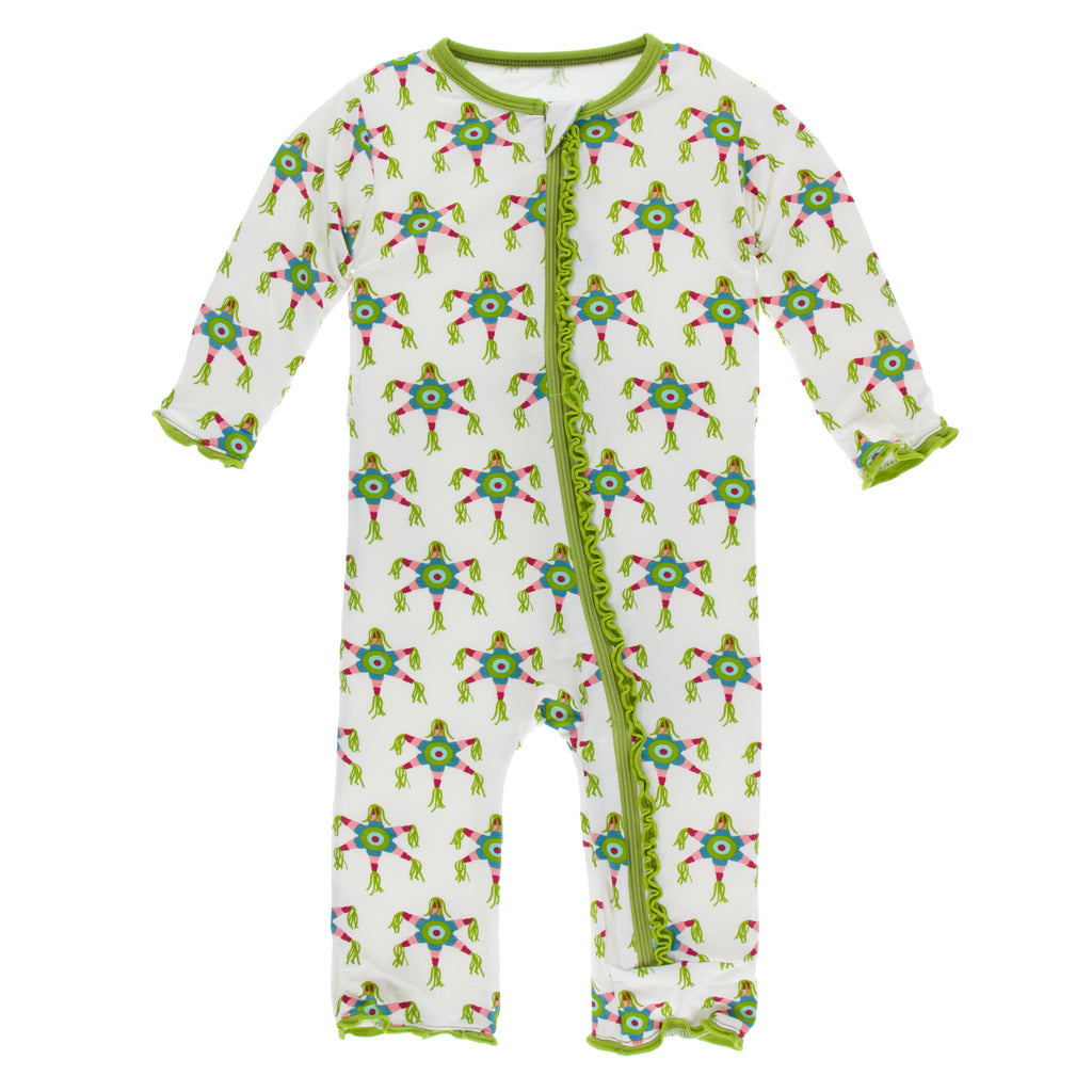 Print Muffin Ruffle Coverall with Zipper in Natural Piñata