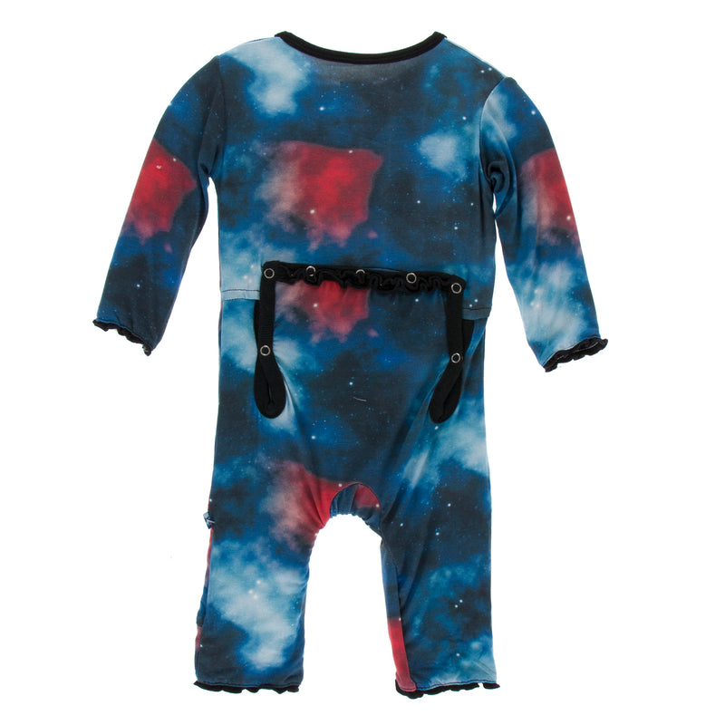 Print Muffin Ruffle Coverall in Red Ginger Galaxy