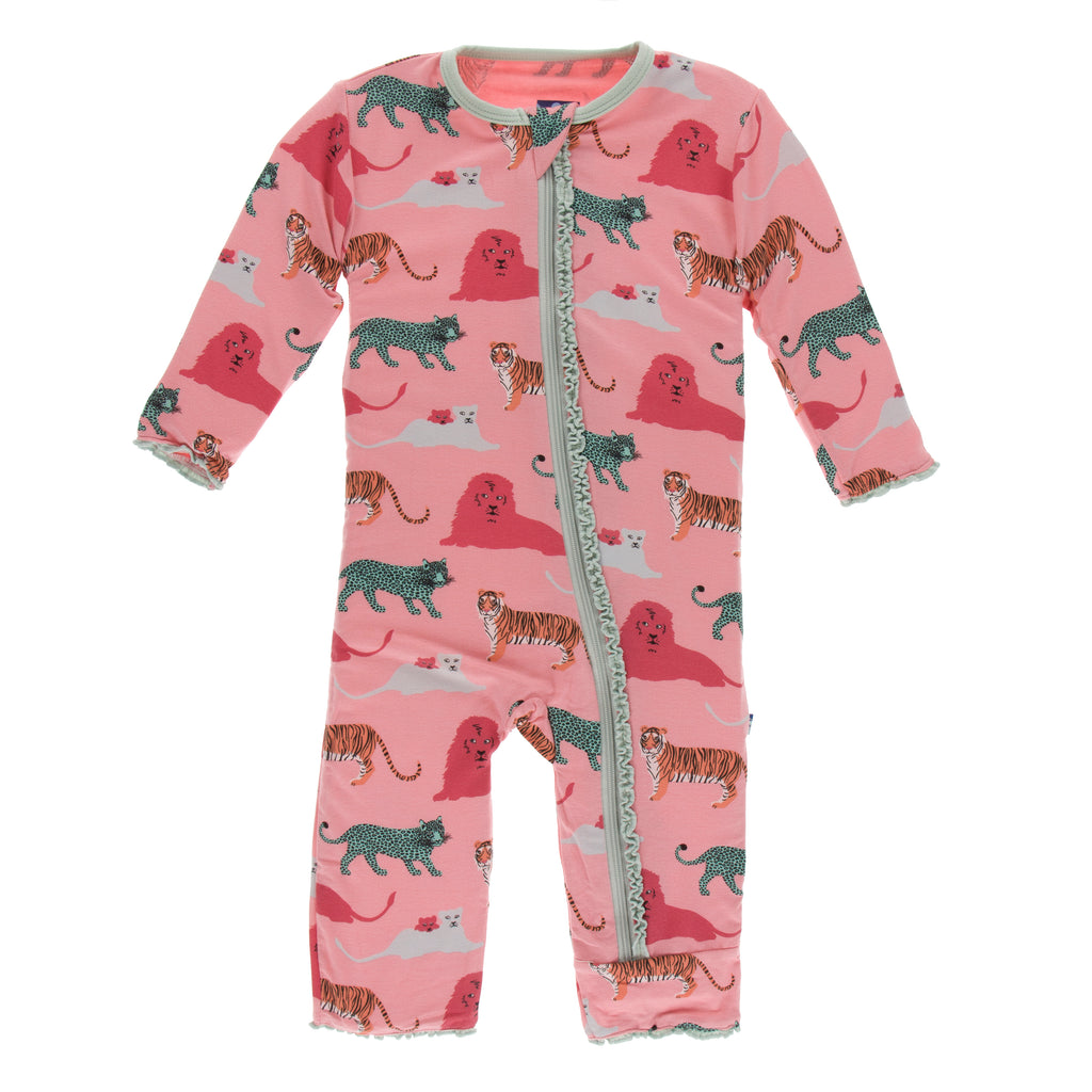 Print Muffin Ruffle Coverall with Zipper in Strawberry Big Cats