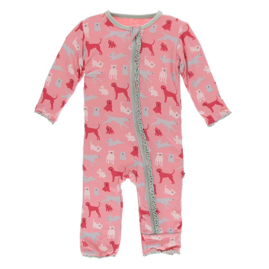 Print Muffin Ruffle Coverall with Zipper in Strawberry Domestic Animals