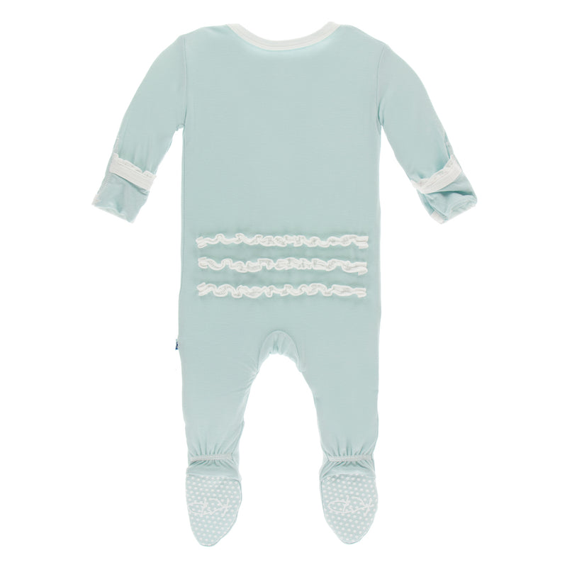 Solid Classic Ruffle Footie with Zipper in Spring Sky with Natural (Newborn)