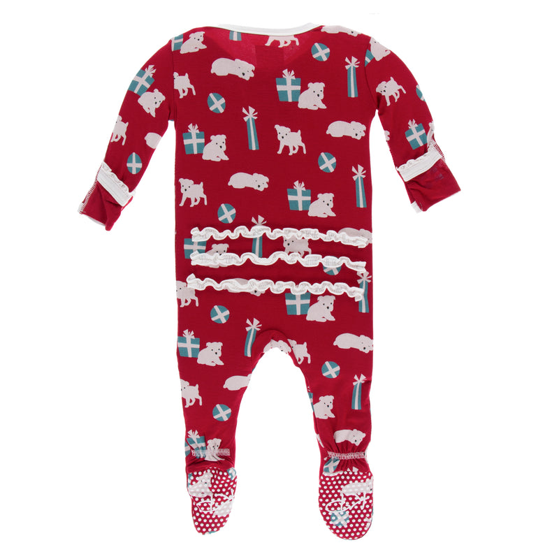 Print Muffin Ruffle Footie with Zipper in Crimson Puppies & Presents