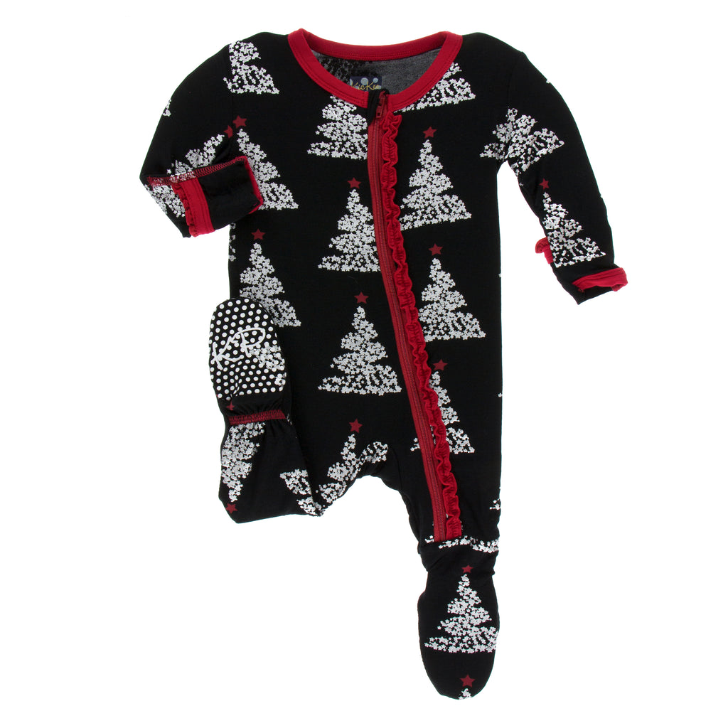 Print Muffin Ruffle Footie with Zipper in Midnight Foil Tree (9-12M)