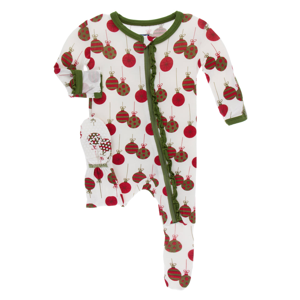 Print Muffin Ruffle Footie with Zipper in Natural Ornaments
