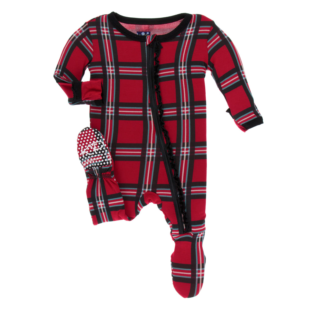 Print Muffin Footie with Zipper in Christmas Plaid
