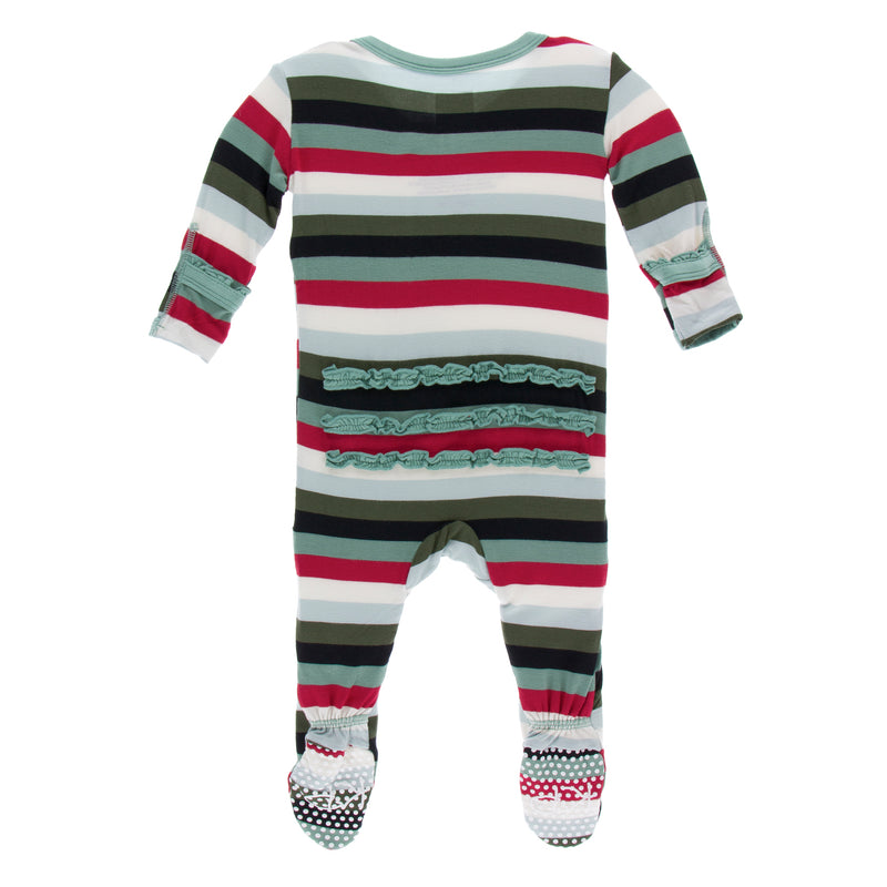 Print Classic Ruffle Footie with Zipper in Christmas Multi Stripe (0-3M)