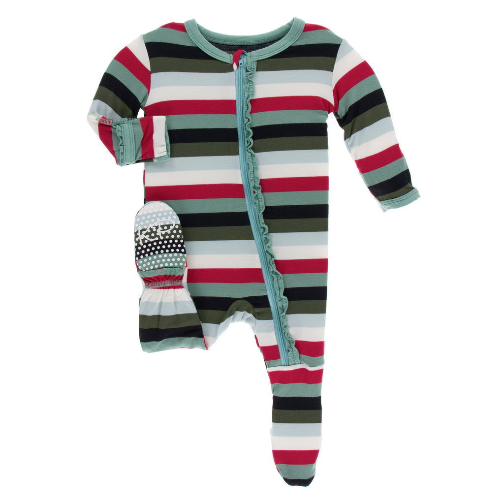 Print Muffin Ruffle Footie with Zipper in Christmas Multi Stripe (9-12M)