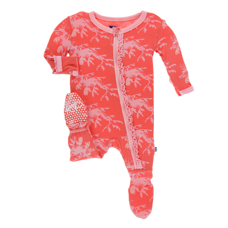 Print Muffin Ruffle Footie with Zipper in English Rose Leafy Sea Dragon