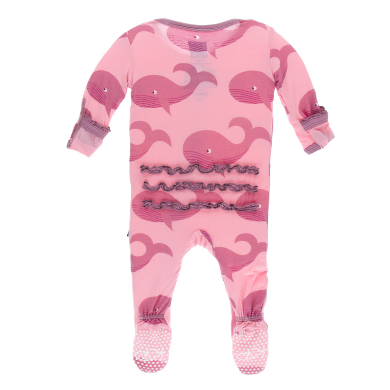 Print Muffin Ruffle Footie with Zipper in Lotus Whales